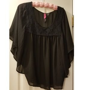 Flowy lace sheer blouse